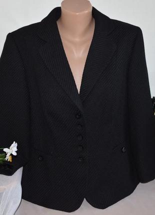 Брендовое черное шерстяное фактурное полупальто пиджак жакет marks & spencer new wool