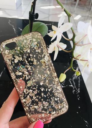 Стильный силиконовый чехол с натуральным перламутром на айфон iphone 5/5s/se