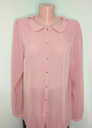 Ніжнорожева блуза з комірцем