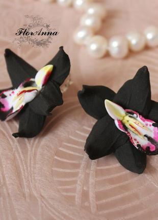 """Черные серьги """"орхидеи"""""""