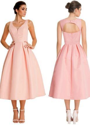 Роскошное приталенное платье chi chi london c пышной юбкой и вырезом на спине c asos