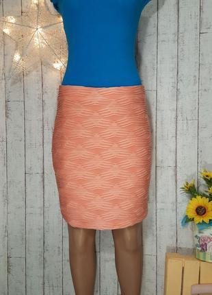 Персиковая юбочка с фактурным узором юбка со складочками amisu р. xl