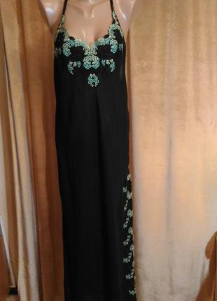 Шёлковая длинная чёрная ночная рубашка, ночнушка с кружевом гипюром размер l