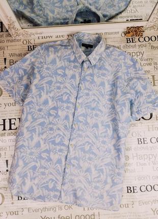 Фирменная льняная стильная рубашка autograoh