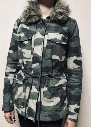 Парка h&m осеняя мех отстёгивается куртка