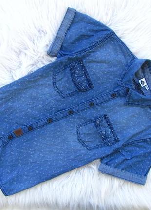 Стильная джинсовая рубашка с коротким рукавом z