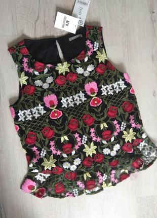 Вышитая блузка футболка майка orsay новая! яркая! размер 36 s