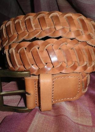 Добротный стильный удобный в носке кожаный плетёный ремень h&m размер 85см