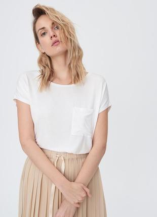 Новая однотонная длинная широкая белая футболка карман тонкий материал польша xs s m l