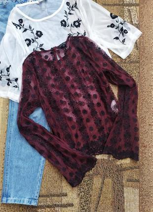 Блуза / сорочка / блузка / блуза / рубашка / сетка сеточка / вышивка бордо / кофточка