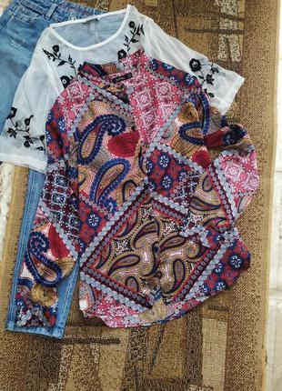 Рубашка / блуза / блузка / сатиновая / атласная/ принт под версаче versace / сорочка