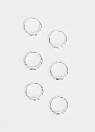 Набір з 3 пар стильних срібних сережок міні кільця, серьги серебро925 🌿з сайту asos