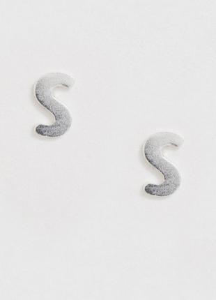 Стильні срібні сережки, серьги з буквою l , s  срібло925🌿з сайту asos