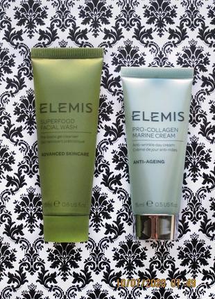 Набор elemis крем pro collagen marine cream и средство для умывания superfood facial wash