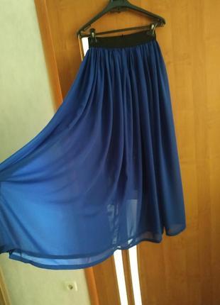 """Длинная лёгкая летняя юбка, цвет """"электрик"""""""