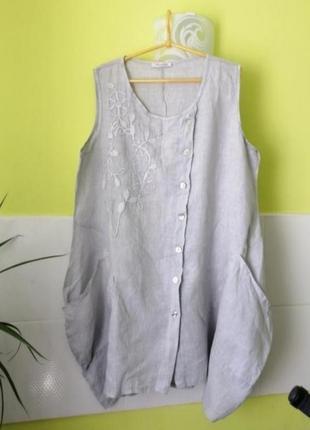 Серое льняное платье туника в стиле бохо италия