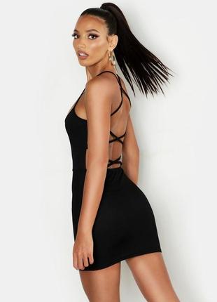 Чёрное мини платье 🔥boohoo🔥 платье с открытой спинкой