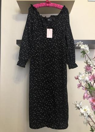 Стильное платье халат в мелкий цветочек