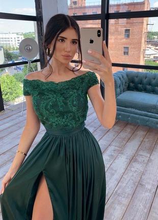 Платье сарафан макси длинное вечернее зеленное