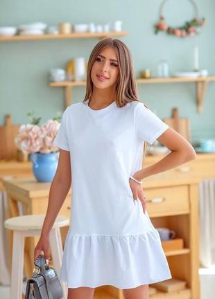 Летнее платье футболка с рюшей