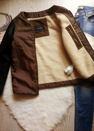 Хаки куртка ветровка поддева на белой овчине с черными кожаными рукавами шерпа zara