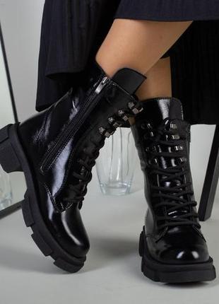 Ботинки зимние деми натуральная кожа в наличии черные5 фото