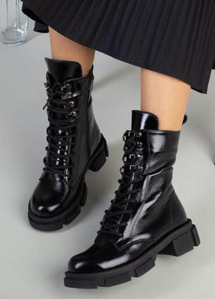 Ботинки зимние деми натуральная кожа в наличии черные6 фото