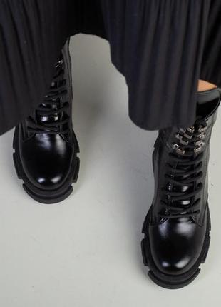 Ботинки зимние деми натуральная кожа в наличии черные10 фото