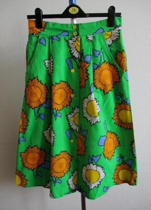 Sale -50%! яркая миди юбка принт подсолнухи