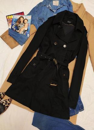 Topshop тренч плащ чёрный хаки с поясом большими карманами