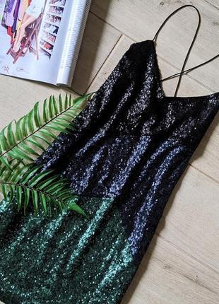 Красивое платье в пайетках на тонких бретелях s m