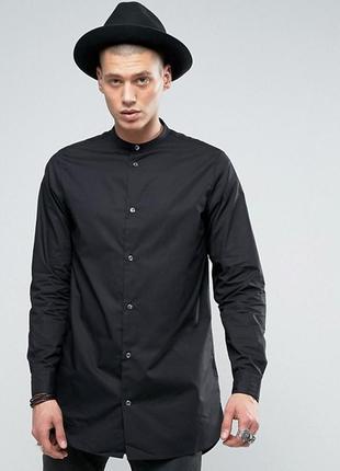 Длинная черная мужская унисекс рубашка туника на кнопках длинный рукав однотонная