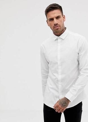 Белая мужская плотная длинная рубашка длинные рукава короткий воротник слим батал большой