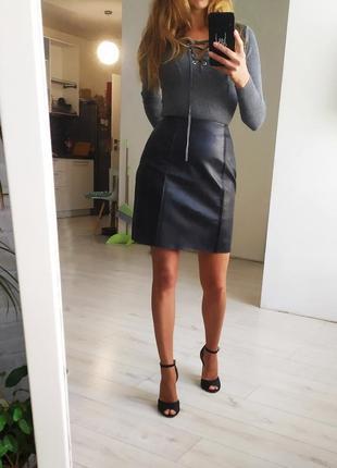 Кожаная юбка. шкіряна спідниця.
