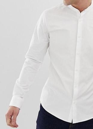 Мужская белая рубашка воротник стойка ( без воротника )