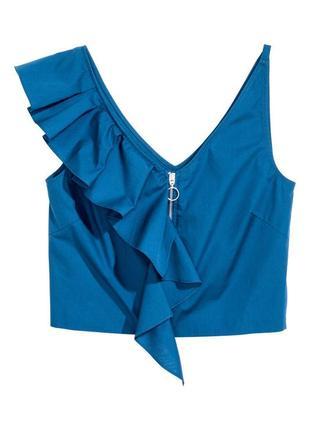 Лёгкая летняя блузка на змейке, рубашка без рукава с воланом/рюшами, хлопок