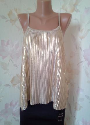 Золотая блузка плиссеровка плиссе