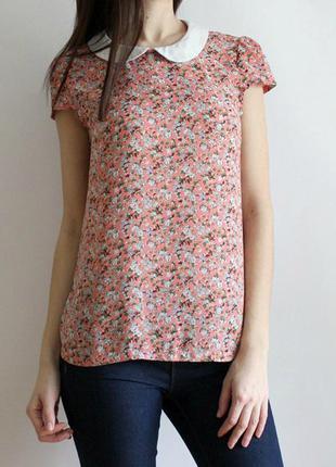 Блуза в цветочный принт с воротничком!