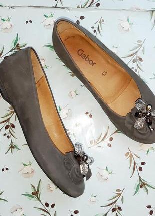 🌿1+1=3 стильные итальянские женские кожаные серые туфли балетки gabor, размер 38