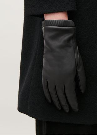 Качественные кожаные перчатки с кашемиром внутри от cos, оригинал