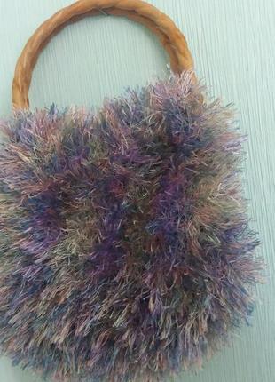 Детская сумочка серо-бура-малиновая травка