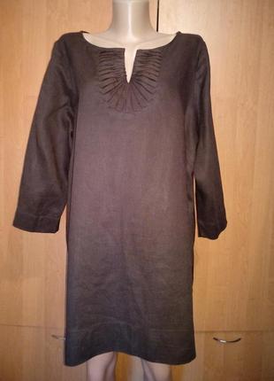 Шикарная льняная блузка туника лён пог-64 см большой размер