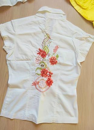 Оригинальная белая блузка блуза с вышивкой и пайетками oops! 8 размер (xs)