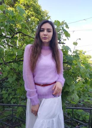 Женский вязаный свитер из мохера кидмохера паутинка облачко лёгкий ручная работа