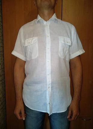 Крутая мужская льняная рубашка лён 48 размер пог-53 см