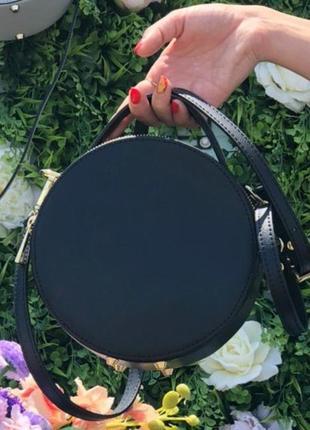 Круглая сумочка кожаная чёрная клатч италия