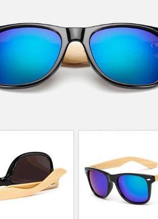 Солнцезащитные унисекс очки-вайфареры с деревянными дужками чёрные очки с синим зеркалом