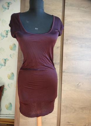 Элегантное легкое итальянское платье цвет слива-бордо gas италия