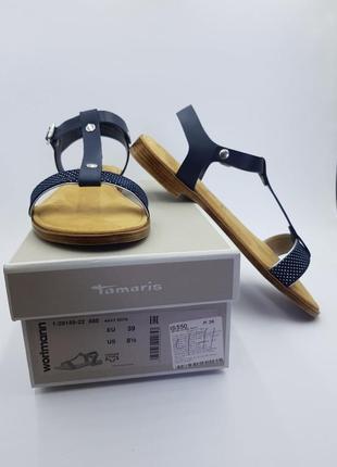 Кожаные сандалии tamaris (пр-во италия) темно-синего цвета, р.39. новые, в коробке