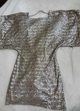 Нарядное ммни платье в паетках 34